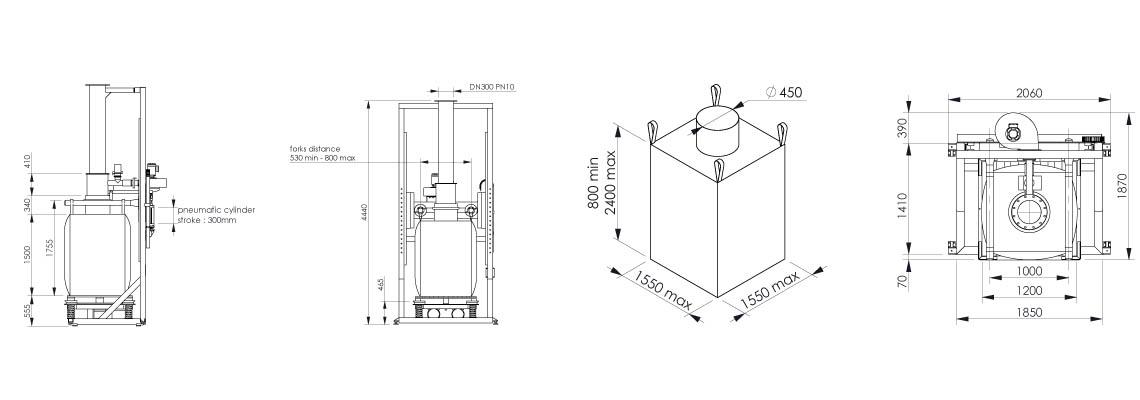 Plan et dimensionnel de la station de remplissage big bag - Flowmatic 03 - Palamatic Process