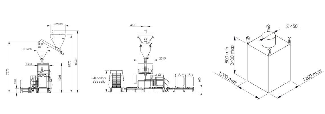 Plan et dimensionnel - Flowmatic 06 - Station de conditionnement big bag - Palamatic Process