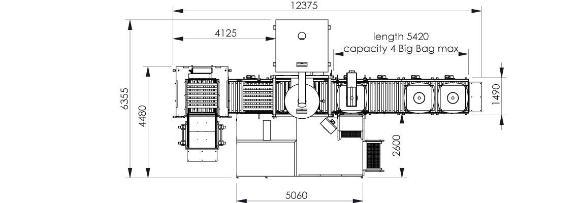 Plan et dimensionnel de la station de remplissage Flowmatic 06 - Palamatic Process