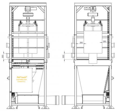 Plan 2D station de vidange big bag haute cadence