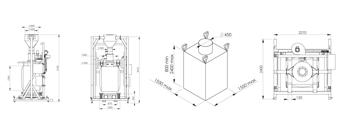 Plan et dimensionnel de la station de remplissage big bag Flowmatic 07 - Palamatic Process