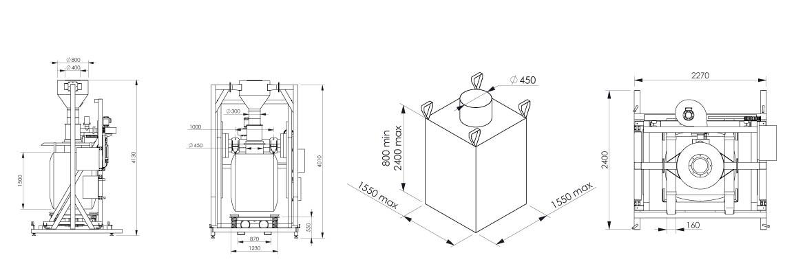 Plan et dimensionnel de la station de remplissage big bag Flowmatic 07 - Palamatic Process