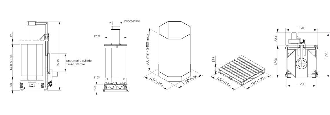 Plan et dimensionnel station de remplissage octabins - OC1