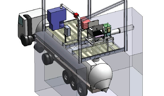 Poste de vidange de big bags pour remplissage camion