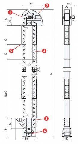 schema dimension elevateur godet