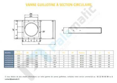 Plan vanne guillotine section circulaire