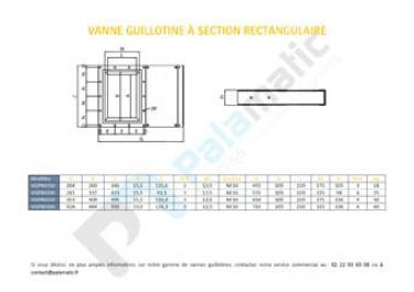 Plan vanne guillotine section rectangulaire