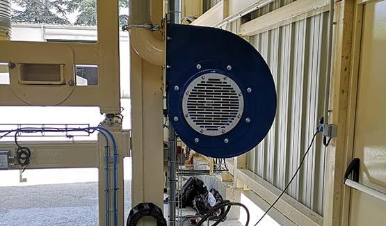 Ventilateur sur station de conditionnement de big bags